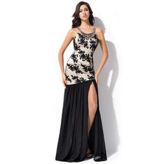 Trumpet/Mermaid Chiffon Prom Dresses Beading Sequins Split Front Scoop Neck Sleeveless Floor-Length (018052711)