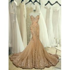 Tulle Sleeveless Trumpet/Mermaid Prom Dresses Sweetheart Beading Appliques Lace Sweep Train