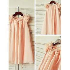 Scoop Neck A-Line/Princess Flower Girl Dresses Chiffon Ruffles Sleeveless Tea-length