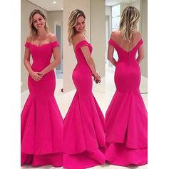 Delicate Satin Evening Dresses Trumpet/Mermaid Sweep Train Off-the-Shoulder Sleeveless