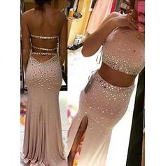 Sheath/Column Jersey Prom Dresses Beading Split Front Halter Sleeveless Sweep Train Detachable