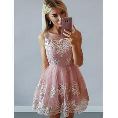 Decote quadrado Vestidos princesa/ Formato A Tule Elegante Vestidos de boas vindas (022212435)