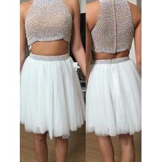 A-Line/Princess Tulle Flattering Knee-Length High Neck Sleeveless