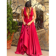 A-Line/Princess V-neck Charmeuse Sleeveless Sweep Train Evening Dresses