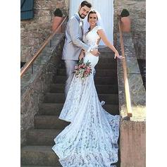 Trumpet/Mermaid Sweetheart Court Train Wedding Dresses (002210864)