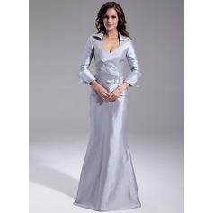 Delicado Escote en V Corte trompeta/sirena Tafetán Vestidos de madrina (008211236)