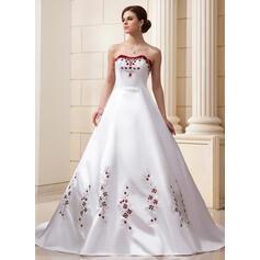 De baile Amada Comboios Catedral Cetim Vestido de noiva com Bordados Beading lantejoulas (002011569)
