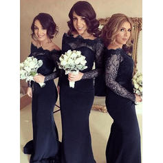 Sheath/Column Off-the-Shoulder Sweep Train Bridesmaid Dresses (007145014)