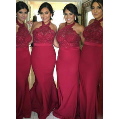 Trumpet/Mermaid Halter Floor-Length Jersey Bridesmaid Dresses With Lace (007217805)