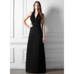 A-Line/Princess Chiffon Bridesmaid Dresses Ruffle Split Front Halter Sleeveless Floor-Length (007197573)