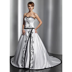 Elegant General Plus Sweetheart Ball-Gown Satin Wedding Dresses