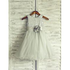 Scoop Neck Knee-length With Flower(s) Tulle/Sequined Sleeveless Flower Girl Dresses (010214201)