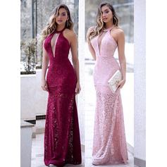 Hasta el suelo Tirantes comunes Encaje Vestido tubo Vestidos de baile de promoción (018218504)