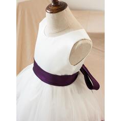 Forme Princesse Longueur genou Robes à Fleurs pour Filles - Satiné/Tulle Sans manches Col rond avec À ruban(s) (010103724)
