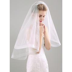 Elbow Bridal Veils Tissue Two-tier Mantilla With Ribbon Wedding Veils