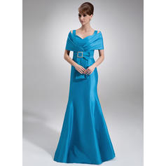Trumpet/Mermaid Taffeta Sleeveless Off-the-Shoulder Floor-Length Zipper Up Mother of the Bride Dresses (008213117)