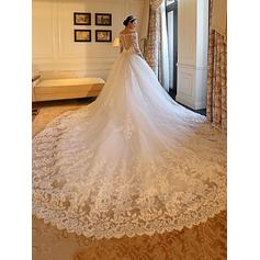 Modern Royal Train Ball-Gown Wedding Dresses Off-The-Shoulder Tulle Long Sleeves