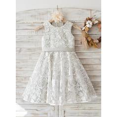 Vestidos princesa/ Formato A Coquetel Vestidos de Menina das Flores - Renda Sem magas Decote redondo com Curvado/V volta