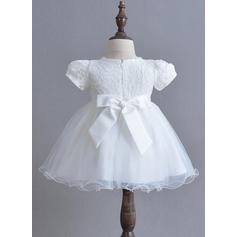A-Line/Princess Scoop Neck Ankle-length Tulle Christening Gowns With Bow(s) (2001216866)