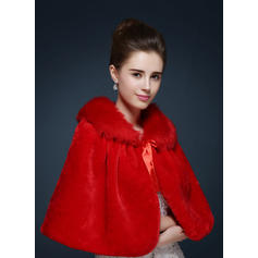 Wrap Wedding Faux Fur With Sashes / Ribbons Ivory Red Wraps
