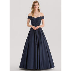 Gallakjole Off-shoulder Gulvlængde Satin Aftenkjole med Perlebesat pailletter (017153396)