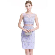Sheath/Column Scoop Neck Short/Mini Tulle Cocktail Dress With Beading Sequins (016079921)