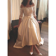 Satin A-Line/Princess Asymmetrical Sweep Train Off-The-Shoulder Wedding Dresses Half Sleeves