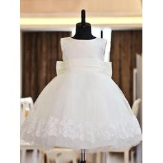 Scoop Neck Ball Gown Flower Girl Dresses Satin/Tulle Bow(s) Sleeveless Knee-length