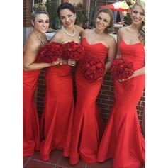 Bridesmaid Dresses Sweetheart Satin Trumpet/Mermaid Sleeveless Sweep Train