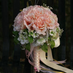"Bridal Bouquets Round Wedding/Party Satin 11.8""(Approx.30cm) Wedding Flowers"