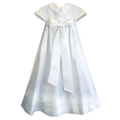 Satin Peter Pan Collar Baby Girl's Christening Gowns With Short Sleeves (2001216808)