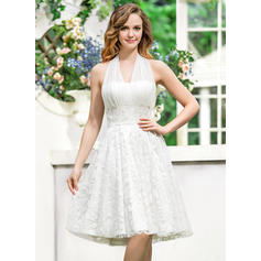 Elegant Halter A-Line/Princess Wedding Dresses Asymmetrical Chiffon Lace Sleeveless