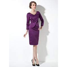 Sheath/Column Satin Long Sleeves V-neck Knee-Length Zipper Up Mother of the Bride Dresses