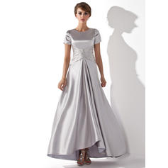 A-Line/Princess Charmeuse Short Sleeves Scoop Neck Asymmetrical Zipper Up Mother of the Bride Dresses