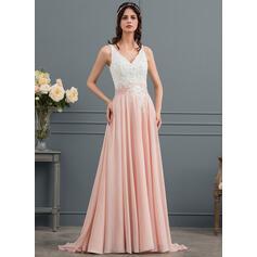 Corte A Decote V Sweep/Brush trem Tecido de seda Vestido de noiva com Beading lantejoulas (002154025)