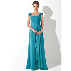 A-Line/Princess Square Neckline Chiffon Sleeveless Floor-Length Lace Beading Cascading Ruffles Mother of the Bride Dresses