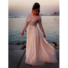 Chiffon Long Sleeves A-Line/Princess Prom Dresses Scoop Neck Beading Sweep Train