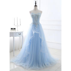 Tulle Sleeveless A-Line/Princess Prom Dresses Sweetheart Beading Appliques Lace Sequins Sweep Train