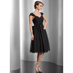 Deslumbrante Tecido de seda Sem magas Decote V Pregueado Curvado Vestidos de boas vindas (022213994)