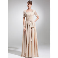 A-Line/Princess Chiffon Short Sleeves Square Neckline Floor-Length Zipper Up Mother of the Bride Dresses (008006154)