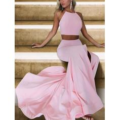 A-Line/Princess Halter Satin Sleeveless Sweep Train Ruffle Evening Dresses
