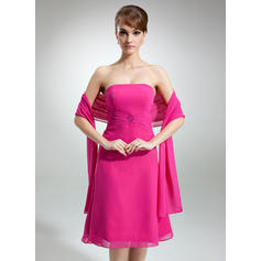 A-Line/Princess Strapless Ruffle Beading Chiffon Bridesmaid Dresses