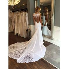 Sleeveless Cathedral Train Chiffon Trumpet/Mermaid Wedding Dresses