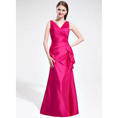 V-neck Floor-Length Taffeta Gorgeous Bridesmaid Dresses