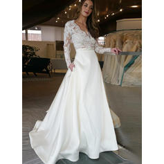 Magnificent Sweep Train A-Line/Princess Wedding Dresses V-neck Satin Long Sleeves