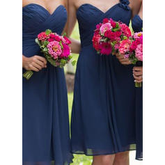 A-Line/Princess Sweetheart One-Shoulder Knee-Length Bridesmaid Dresses With Ruffle Flower(s)