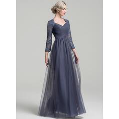 Forme Princesse Amoureux Longueur ras du sol Tulle Robe de mère de la mariée avec Plissé (008091957)