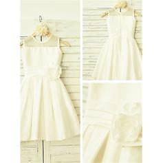 A-Line/Princess Scoop Neck Tea-length With Flower(s) Taffeta Flower Girl Dresses