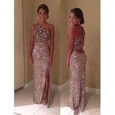 Sheath/Column Sequined Prom Dresses Split Front One-Shoulder Sleeveless Floor-Length