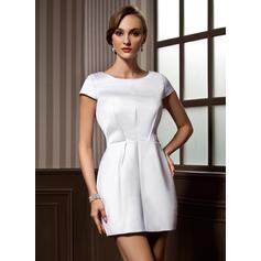 Sheath/Column Scoop Neck Short/Mini Satin Cocktail Dresses (016008261)